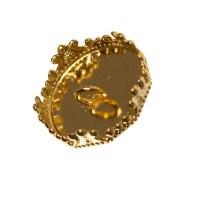 Deckel für Glaskugel, Öse beidseitig, für Kugelöffnung 15 mm, goldfarben