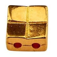 Cymbal Voutakos Perle für Tila Beads, Viereck, 5 x 5 mm, vergoldet