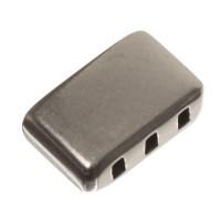 Endkappe für breite Bänder (10 x 2 mm) ohne Öse mit Fädelöffnung, versilbert