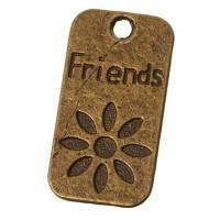 """Metallanhänger """"Friends"""", Viereckig, 23 x 12 mm, bronzefarben"""