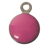 CM Metallanhänger Rund, flach, 11 x 8 mm, Edelstahl, pink emalliert