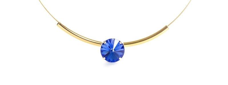 Goldige Colliers mit Swarovski Rivoli Sapphire