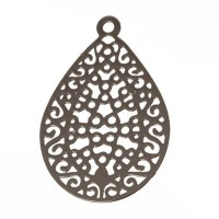 Metallanhänger Boho Tropfen filigran, 24 x 16 mm, silberfarben