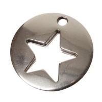 Metallanhänger Stern, 16 x 16 mm, versilbert