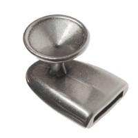 Verschluss, Fassung für Rivoli 12 mm, 21 x 15 mm, versilbert