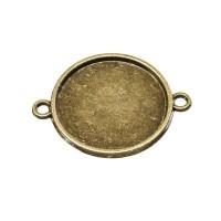 Anhänger/Fassung für Cabochons, rund 20 mm, 2 Ösen, antik bronzefarben