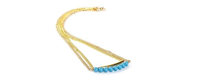Goldene Doppelkette Turquoise
