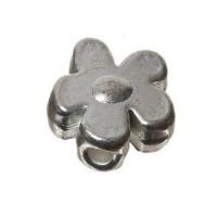 Metallperle Blume, ca. 12 mm, versilbert