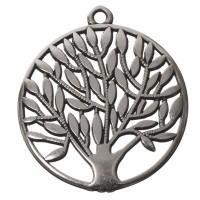 Metallanhänger Baum, versilbert, ca. 42 x 37,5 mm