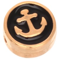 Metallperle rund mit Ankermotiv, Durchmesser 9,0 mm, vergoldet und schwarz emailliert