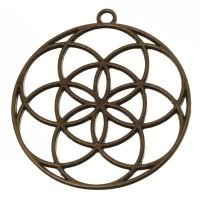 CM Metallanhänger Blume des Lebens, 48 x 44 mm, bronzefarben