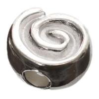 Metallperle Schnecke, ca. 11 x 6 mm, versilbert glänzend