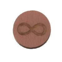 Holzcabochon, rund, Durchmesser 12 mm, Motiv Unendlichkeit, rosa