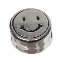 Metallperle, rund, Smiley, Durchmesser 7 mm, versilbert