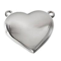 Schließe, Herz, 22 x 20 mm, rhodiniert