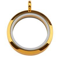 Edelstahl Medallion mit Magnetverschluss, Vorder- und Rückseite aus Glas, Rund, goldfarben, 36 x 30