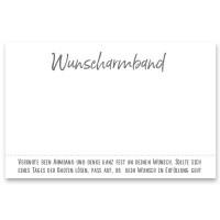 "Schmuckkarte ""Wunscharmband"", quer, weiß/grau, Größe 8,5 x 5,5 cm"