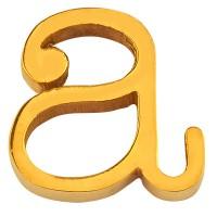 Buchstabe: A, Edelstahlperle in Buchstabenform, goldfarben, 12 x 12 x 3 mm, Lochdurchmesser: 1,8 mm
