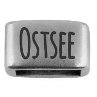 """Zwischenstück mit Gravur """"Ostsee"""", 14 x 8,5 mm, versilbert, geeignet für 5 mm Segelseil"""