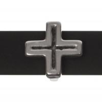 Metallperle Slider / Schiebeperle Kreuz , versilbert, ca. 12,9 x  12,9 mm