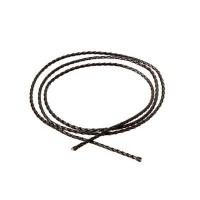 Geflochtenes Lederband, 3 mm, schwarz, Länge 1 m