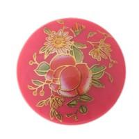 Cabochon bedruckt, Blumenmuster, rund, Durchmesser 25 mm, pink