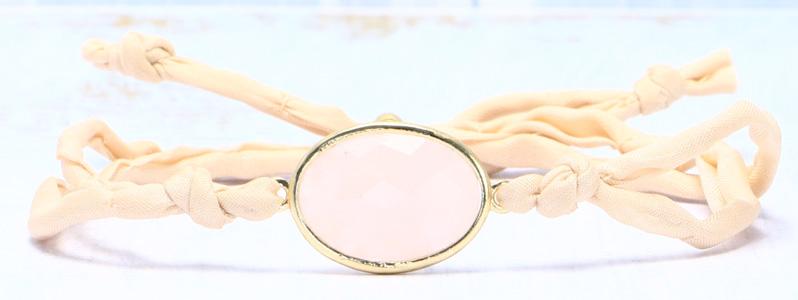 Armband mit Edelsteinarmbandverbinder und Seide rosa