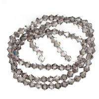 Strang Glasfacett  Bicone, 4 x 4 mm, smoky quartz AB, Länge des Strangs ca. 40 cm
