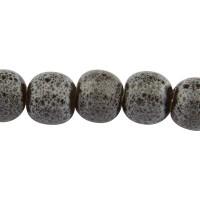 Porzellanperle antik glasiert, Kugel, grau, 6 mm