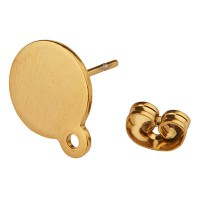 Edelstahl Ohrstecker, runde Scheibe, goldfarben, 12,5 x 10 x 1 mm, Öse: 1,5 mm, Stecker: 0,8 mm