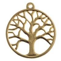 Metallanhänger Baum, 37,5 x 33,5 mm, vergoldet