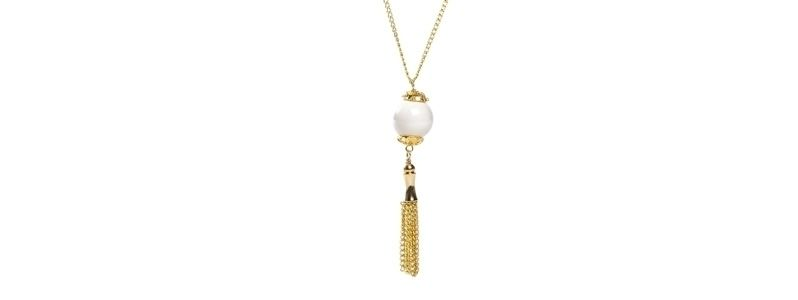 Goldene Kette mit Crystal Pearl Anhänger Ivory