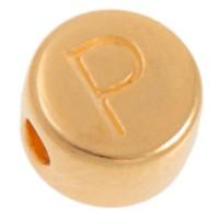Metallperle, P Buchstabe, rund, Durchmesser 7 mm, vergoldet