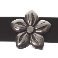 Metallperle Slider Blume, versilbert, ca. 15,5 x 15,5 mm, Durchmesser Fädelöffnung:  10,2 x 2,3 mm