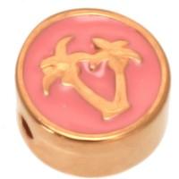 Metallperle rund mit Palmmotiv, Durchmesser 9,0 mm, vergoldet und rosa emailliert