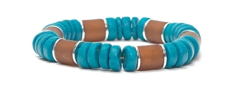 Armband mit Kokosnussperlen Braun-Marine