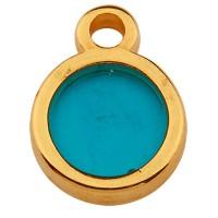 Metallanhänger Rund, 8,0 mm,  Vitraux, Glasfarbe: türkis, vergoldet