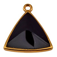 Metallanhänger Dreieck, vergoldet und schwarz emailliert