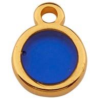 Metallanhänger Rund, 8,0 mm,  Vitraux, Glasfarbe: dunkelblau, vergoldet