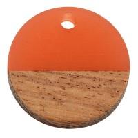 Anhänger aus Holz und Resin, Runde Scheibe, 15 x 3,5 mm, Öse 1,8 mm, koralle
