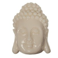 Perle Buddhakopf, 27 x 18 mm, Synthetische Koralle, elfenbein