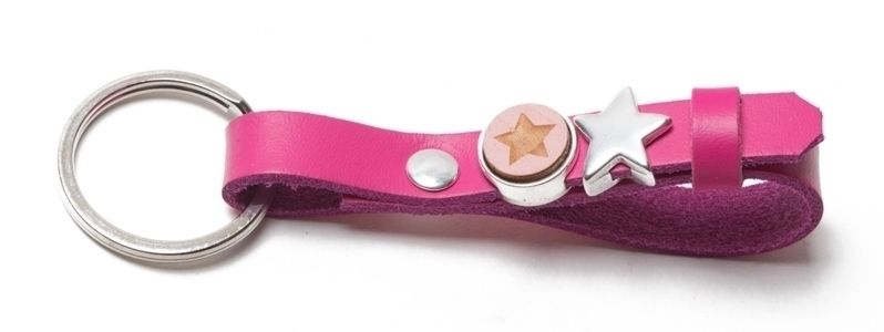Schlüsselanhänger aus Lederband mit Slidern Pink
