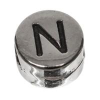 Metallperle, rund, Buchstabe N, Durchmesser 7 mm, versilbert