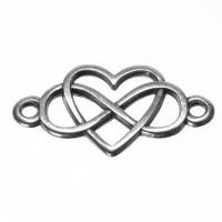 Armbandverbinder Herz und Infinity, 24,5 x 12,5  mm, versilbert
