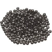 Kunststoffperlen Buchstabe, runde Scheibe, 7 mm, schwarz mit weißer Schrift, 260 Stück