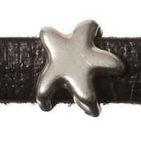 Metallperle Mini-Slider Seestern, versilbert, ca. 7,5 x 7,5 mm