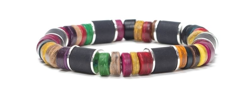 Armband mit Kokosnussperlen Schwarz-Multicolor