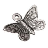 Metallanhänger Schmetterling,ca. 14 mm x 18 mm, versilbert