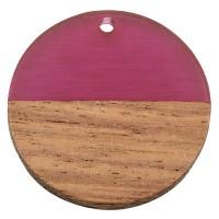 Anhänger aus Holz und Resin,Runde Scheibe, 28,5 x 3,5 mm, Öse 1,5 mm, lila