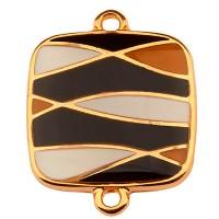Armbandverbinder Viereck mit Muster, 18 mm, Schwarz-Weiß emailliert, vergoldet